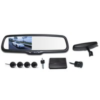 Wholesale 4 quot LCD Display Parking Sensor Rear View Camera Video Car Rearview Mirror Reverse Radar System V Car Parking Assistance