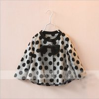 Cheap 2015 Girls Round Neck Black Bow Polka Dot Jacket Childrens Fashion Coat Latest European StyleKids Best Sale Casual Outwear