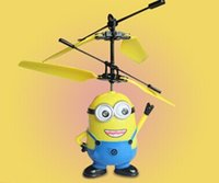 Wholesale Toys Small yellow people induction aircraft the latest eyes with light Fun and easy to play