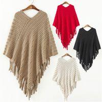 Wholesale New Winter Fashion Women V Neck Batwing Stripes Pullover Knit Poncho Tassels Sweater Tops Irregular Shawl Poncho Beige Black Red Khaki
