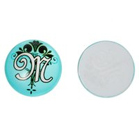 Cheap Glass Dome Seals Cabochons Embellishments Findings Round Flatback Mint Green Alphabet Pattern M 20mm Dia,30 PCs 2015 new