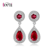 Wholesale Teemi Vintage Jewelry Popular Colors Classic Elegant Small Size Water Drop CZ Dangle Earrings For Women Bridal White Gold Plated