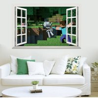 Wholesale 2016 Cartoon Minecraft Wall Stickers Party Decoration Wallpaper D window Decorative Wall Decal Wallpaper Bedroom Decoration E266L