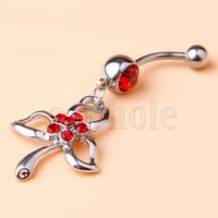 bars centres - Three Leaf Centred Red Gems Paved Flower Dangle Belly Ring Navel Bar mm JW953