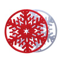 big glass dining table - 2015 Christmas Red White Snowflake Glasses Mat Cup Coaster Drinking Table Decoration Accessories Dining Party