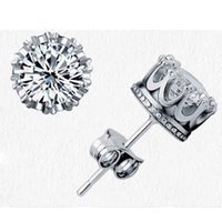 Wholesale Fashion Jewelry CT Crystal sterling Silver plating White GOLD Crown Wedding Stud Earring Engagement Jewelry