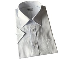 men shirts and ties - Summer Short Sleeves White Stripe Shirts Men White Business Casual Office Interviem Quality Shirts with Suit and Tie SMTS