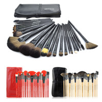 make up factory - Factory price Professional Makeup Brush Sets Make up Tools Soft Goat Hair Brand Red Black Makeup Brushes Kit with Pouch Bag Case