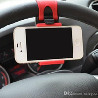 Wholesale DHL Universal Car Steering Wheel Mount Phone Socket Holder Rubber Band For iPhone Plus Galaxy S6 Note Mate GPS