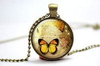 american butter - 10pcs Butter Fly Necklace Vintage Style Jewelry Cute Butterfly Pendant Bronze Glass Photo Cabochon Necklace