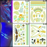 Wholesale Waterproof Metal Tattoo Stickers Temporary Tattoo Stickers Metallic Gold Foil Tattoo Flash Noctilucent tattoos Gold Silver Temporary Tattoo