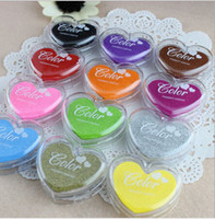 Wholesale 12 Colors Heart Shape Inkpad candy color Finger Paint Colorful Cartoon Inkpad Ink Stamp Ink Pad set for DIY funny Work Scrapbooking Album