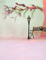 bench paper - 200cm cm ft ft Fundo Streetlights benches branches photography backdrop background