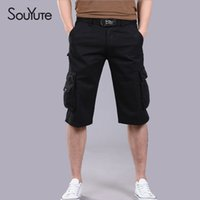 Wholesale Souyute Summer Men s Cargo Shorts Casual Shorts Fashion Pockets Solid Color Army Green Pants New Arrival Large Size