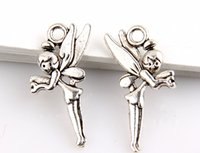 fairy charms - Hot Antique Silver Zinc Alloy Sided Angel fairy charms Pendants x11 mm DIY Jewelry