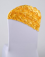 Wholesale Free EMS DHL Luxurious Ornament Elastic Wedding Chair Cover Sashes Sash Chair In A Hat Cap Party Banquet Decoration