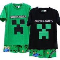 Cheap summer sleepwear minecraft baby clothes suit pajamas 6-12T boy-kids t-shirts+Pants 4sets lot minecraft clothes minecraft pyjamas cotton