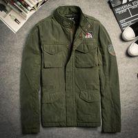 basics jacket mens - Fall Mens Autumn Basic jackets Military Windbreaker Jacket Army Button Zip Coats Long Sleeve Chaqueta Hombre Overcoat Big Size XL