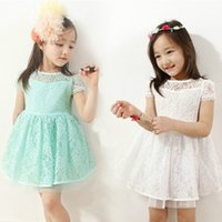 Cheap Summer Baby Girls Lace Dresses Children short Sleeve Princess Dress Korean Shirt tops Kids Party Dress Tutu Dress clothing