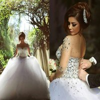 Wholesale 2016 Wedding Dresses Real Image Luxury Crystal Bridal Gowns With Beads Sheer Illusion Crew Neck Long Sleeves Plus Size Floor Length Tulle