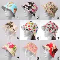 Stingy Brim Hat floral bucket hat - 2015 new women floral Sun Hats fashion Flower Canvas Bucket Hats design Summer Beach Sun Hat fishing fashion hat for ladies top quality