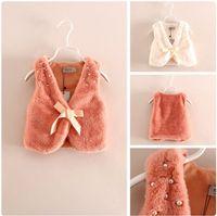beaded waistcoat - Autumn Girls beaded Bow Waistcoat Children V neck fleece Vest Tops Korean Kid s warm Faux Fur vest Outwear A6901