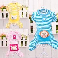 dog pajamas - Pet Clothes Pajamas Cute Bear Design Stripes Dog Apparel Shirt Puppy Jumpsuit Cat Clothing Costumes