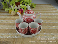 Wholesale Chinese Red King cup creative wedding ceramic teapot tea sets wedding gift wedding gift