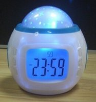 Wholesale hot sale Music Starry Star Sky Projection Alarm Clock Calendar Thermometer with retail package