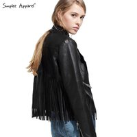 leather motorcycle apparel - Simplee Apparel black fringe faux leather jacket women Autumn motorcycle fashion ladies pu leather bomber aviator jackets coats