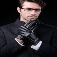 apple ribs - Men s Gloves Three business PU leather and velvet ribs thick warm autumn and winter outdoor Korean car riding touch gloves