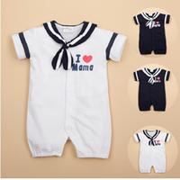baby boy shortalls - Sailor Baby Boys Rompers Baby Dresses Short Pants Summer Clothes Shortalls Outfits Cotton I Love MAMA PAPA
