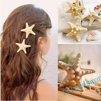 Wholesale Cheap Price beach hair Fashion personality of pure natural starfish beach holiday edge clip hair accessories hairpin