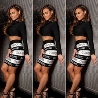 bad girls club - Celeb Pieces Bandage Bodycon Dress GOOD GIRL BAD GIRL Print Skirt High Neck Crop Top Hottest Women Club Party Bandage Dresses E31
