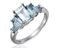 Gemstone baguettes jewelry - NEW Baguette Cut Aquamarine Sterling Silver Ring Womens Jewelry