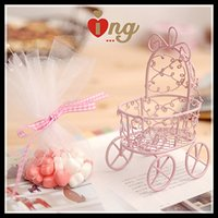 Wholesale New Pram Shaped Candy Favor Boxes Pink Iron Baby Carriage Candy Boxes with White Guaze and Ribbon For Baby Birthday or Wedding Party Hot