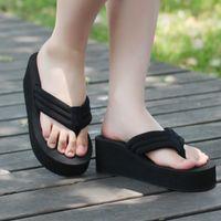 Cheap women's summer wedges flip flops lady beach leisure sandals