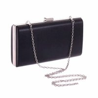 Wholesale Fashion Black Silver Suqare Ladies Clutch Bag Evening Party Bag With Long Chains Banquet Hand Bags