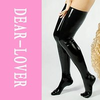 latex stockings - Leg Wear Stockings Women Sexy Cludwear Black Latex Stockings Faux Leather Wet Look Vinyl Fetish Stocking LC7796 slimming