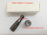 Wholesale Newest Puffco Vaporizer Skillet V2 Atomizer with Dual Quartz Rod Coils Replaceable Coil Head Fit eGo Evod eGo C Twister ego t battery