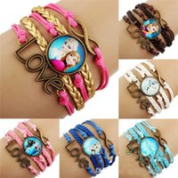 Wholesale Frozen infinity charms leather Bracelets bangle Antique Bronze Sideways Queen Elsa princess Anna Olaf Love Wristbands christmas gift YY