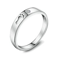 asian modeling - real Silver Ring Jewelry with Lovely Foot Print Modeling for Love Fashion Design for Men Women Selling Finger Rings WR109