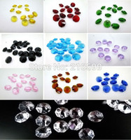 Wholesale 1000pcs inch Crystal Glass Sparkly Beaded Polished Crystal Octagonal Beads crystal chandelier parts glass crystal pendants