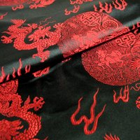 Wholesale Black red dragon brocade fabric silk satin fabric Chinese style costume national costumes