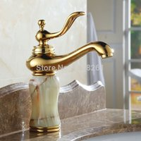 bathroom vanity materials - Bathroom faucets vanity basin mixer brass and Marble material with Gold plated hot and cold water AL K