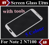 Wholesale Front Outer Screen Glass Lens Touch Screen Digitizer For Samsung Galaxy Note II N7100 with tools