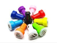 Wholesale USB Car Chargers Mini V A Micro DC Port Micro Auto Trumpet Power Adapter for iPod iPhone Samsung Galaxy Note Cell Phone DHL free shipp