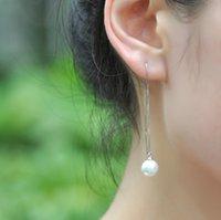 Wholesale long dangle earring fashion jewelry women earrings Exquisite luxury new sterling silver pearl ear rings ear wire