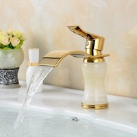 art mixers - Newly Art Jade Body Bathroom Basin Faucet Brass Mixer Tap Golden Waterfall Faucets Hot and cold water K