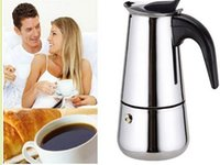stainless steel induction cooker - 5piece Stainless Steel Moka Pot Coffee Maker Espresso Machine Cups Coffee Pot Capacity ML Induction Cooker Applicable